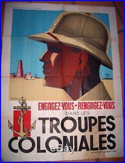Affiche originale Engagez Vous Dans les Troupes Coloniales vers 1938 Sogno
