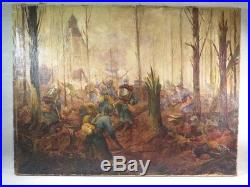 Ancien Tableau Huile Sur Toile Poilus Guerre 1914-1918 Bataille Sous Bois Signe