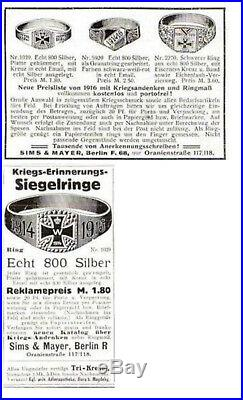 Bague impériale allemande argent-Première guerre mondiale-WW1-tranchée-poilu