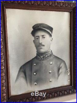 Cadre ancien portrait photo militaire soldat poilu 1ère guerre mondiale 14-18