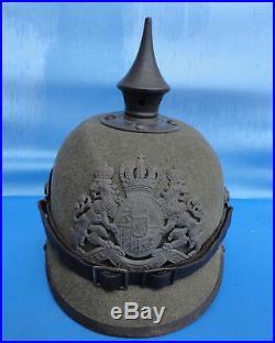 Casque A Pointe Bavarois En Feutre Modele 1915