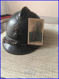 Casque Adrian Infanterie Mdl 1915 1er type Intérieur Garance Poilu Attribué