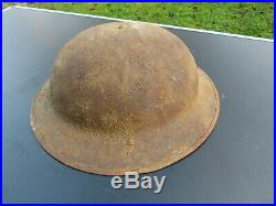 Casque Brodie Anglais 1915 Bataille D'artois Original GB Ww1