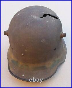 Casque Stahlhelm 1916 impacté de grenier