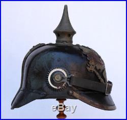Casque à Pointe Militaire XIXe 1914-1918 Prussien Allemand Prusse pickelhaube
