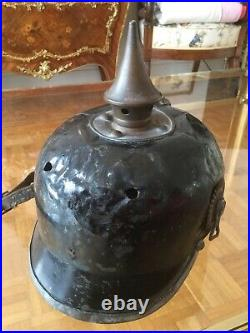 Casque a pointe Prussien. Bombe metallique. Très rare. Modele Bing