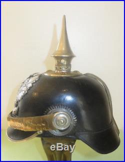 Casque à pointe, spilkelme, pickelhaub Beau casque Officier Pionnier Prussien