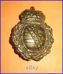 Casque à pointe, spilkelmet Plaque modèle 1895 Troupe du 100 ème Régiment Saxon