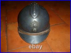 Casque mle 15 Adrian BE, complet et nominatif WWI 14/18 Poilu Bleu horizon