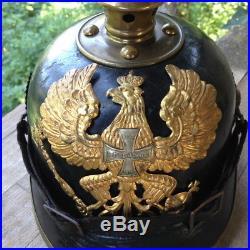 Casque pointe PRUSSE RESERVE original 1GM WW1 spiked helmet pickelhaube SUPERB