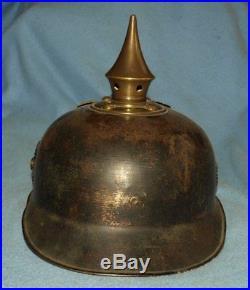 Casque pointe ersatz en fer pickelhaube eisen spiked helmet iron prusse preussen