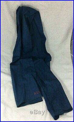 Cravate de poilu en calicot gris de fer bleuté piou piou 1914 matriculée