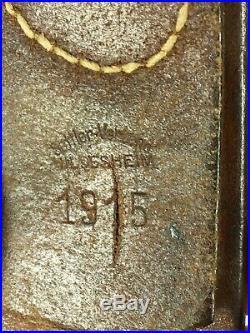 Cuir ceinturon allemand WW1 Prusse daté 1915 tranchée BA V