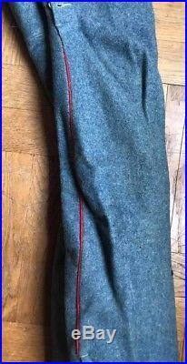 Culotte réglementaire bleue horizon artillerie poilu 1917, passepoils rouge