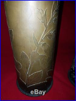 Daum Paire De Vases Travail A L'acide Ouvrier De Chez Daum 1917 Obus De Tranchée