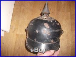 Equipement militaire casque a pointe bavarois en fer modele bing