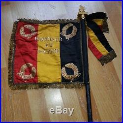 Fanion drapeau Sarthe Auvours Armee Belge Poilu 1915 Casque verdun