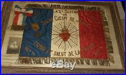 Fanion militaire WW1 poilu 108 territorial Savoie Chambery Modane tranchée kepi