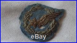 Fort rare insigne brevet observateur pilote 1914 bleu horizon