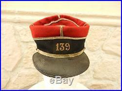 Képi militaire français adjudant d'infanterie 139ème RI 1886-1914