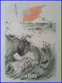 Lithographie orig Francisque Poulbot sign/n Enfantina 1èr Guerre Mondiale 14-18