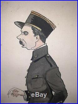 Lot 2 Aquarelles Pilote As 1914 1918 Aviation Aviateur Kepi Poilu