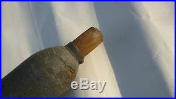 Militaria WW1 obus d'entrainement, bois et laiton, canon de 75