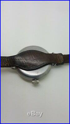 Montre de Poilu acier WW1 40mm 1914/1918 bracelet D'ORIGINE cuir RARE Révisée