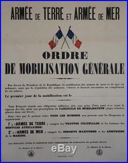 ORDRE DE MOBILISATION GENERALE (GUERRE 1914-1918) Affiche originale entoilée