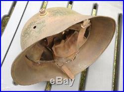 Original casque allemand vert felgrau Mod1916 complet 1er type! Jus Grenier ww1