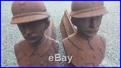 Paire de chenets poilu casque ww1 Verdun 61° régiment infanterie militaria