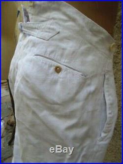 Pantalon Troupes Coloniales Blanc En Coton Lin Guerre 14-18 / Marine Nationale