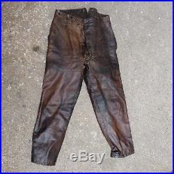 Pantalon cuir de pilote Français réceptionné aviation 14 18 SPA escadrille ww1