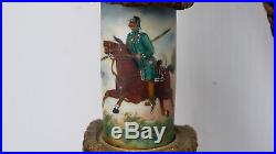 Pipe De Reserviste De L'armee Allemande En Bois Decor Porcelaine Bronze (b994)
