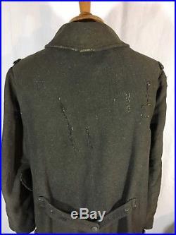 RARE Capote modèle 1914 dite POIRET datée 1915 en drap ersatz poilu tranchée ww1