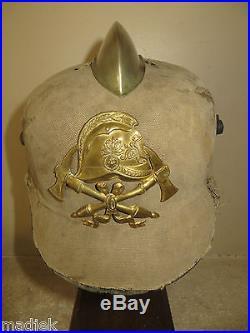 Rare casque Sapeur-Pompier Allemand remonté à partir d' un casque à pointe 14-18