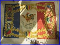 Rare grand drapeau français double face ww1 pays alliés en parfait état. Casque