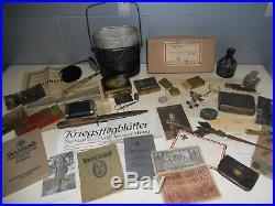 Rare lot accessoires divers documents vie courante soldat Allemand 1914-18 WW1