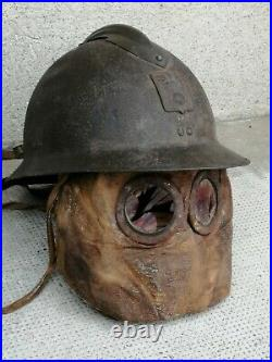 Rare masque à gaz ww1 1917 French gas mask gasmaske Compresse soldat tranché