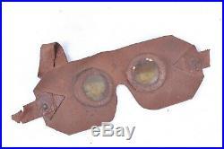 Rare paire de lunettes de protection contre les gaz en caoutchouc poilu 14 18
