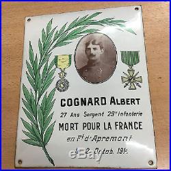 Rare plaque emaillée 1914 1918 WWI 29me régiment Infanterie Front Apremont 1914