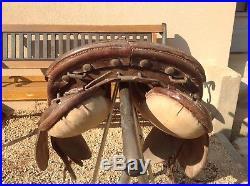Rare selle ancienne WW1 cavalerie lourde France Gache Tarbes Militaria Daumont