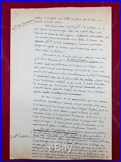 Rarissime Manuscrit Original du Commandant Raynal 1919 Le Drame du Fort de Vaux