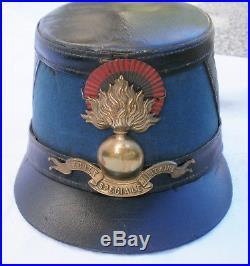 Shako mod 1872 ESM Saint Cyr Coiffure képi Poilu Infanterie general école casoar