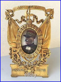 Superbe ancien cadre porte photo commémoratif guerre 1914-1918 en bronze signé