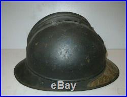 Superbe casque ADRIAN Mod. 1915 de l' Infanterie, Plaque nominative d' un Officier