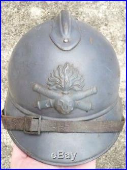 Superbe casque Adrian Artillerie modèle 15 bleu horizon poilu 14 18 ww1 helmet