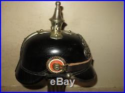 Superbe casque de la Police du Royaume de Bavière, modèle 1895, maillechort