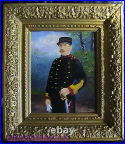 Tableau Peinture Sur Bois Sergent-major 38° Rgt Artillerie Coloniale