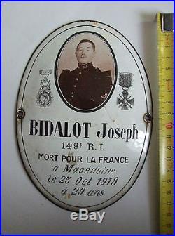 Tole emaillée de BIDALOT Joseph 149° RI tombé le 25/10/1918 à Macédoine